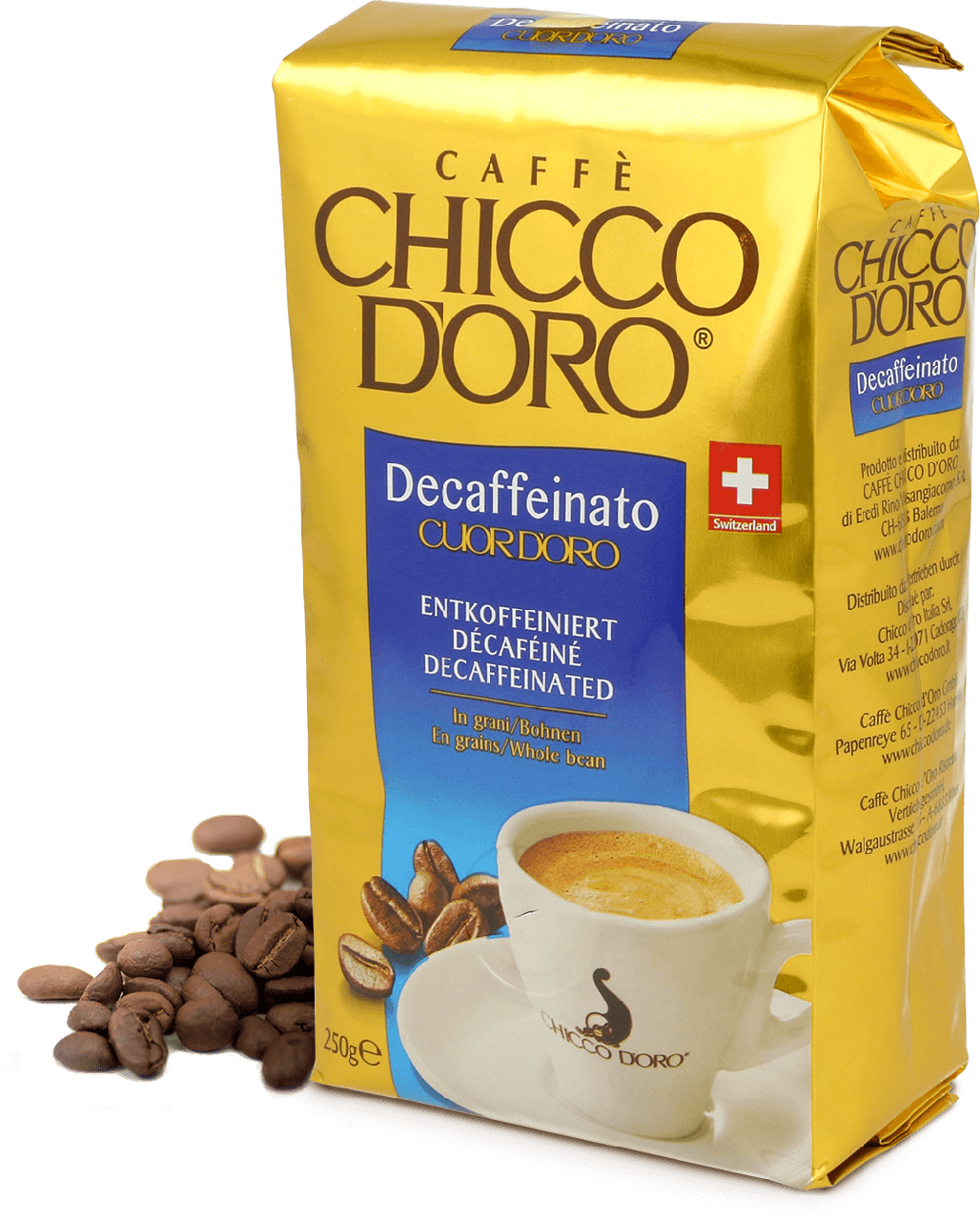Кофе зерновой Chicco d'oro без кофеина Decaffeinato (100% Арабика) 250г