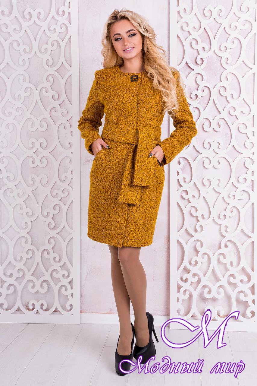 Женское весеннее пальто до колена (р.S, M, L) арт. Луара лайт крупное букле 10099
