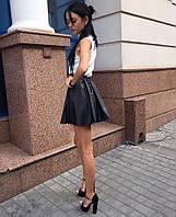 Юбка женская короткая из экокожи на резинке , магазин женской одежды