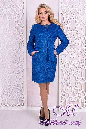 Женское осеннее пальто до колена (р.S, M, L) арт. Луара лайт крупное букле 10098, фото 2