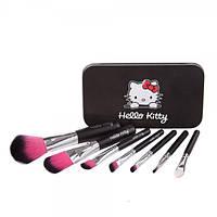 Набор кистей для макияжа 7 шт - Make Up Me Hello Kitty (реплика) Black-7-HK Черный - Black7-HK