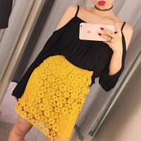 Юбка женская цвета ГОРЧИЦА из хлопкового кружева на резинке , магазин женской одежды