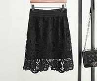 Юбка женская из дорогого французского кружева на резинке  черная, магазин женской одежды