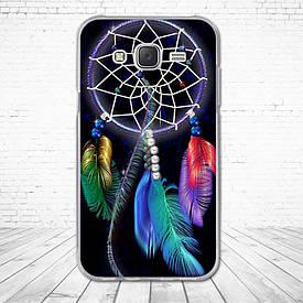 Силіконовий чохол для Samsung Galaxy J5 J500h з картинкою ловець снів з кольоровими пір'ям