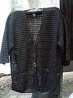 Женский ажурный кардиган черного цвета до 64 размера, фото 1