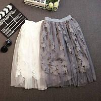 Юбка женская пышная фатин+хлопковое кружево (пояс на резинке) , магазин женской одежды