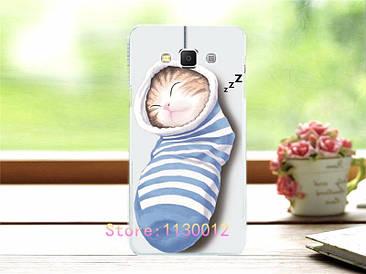 Чохол силіконовий бампер для Samsung Galaxy J5 J500h з малюнком кіт у шкарпетці