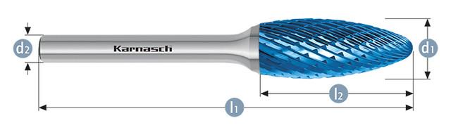 Борфреза язычок пламент RBH(тип H) с покрытием blue-tec