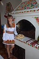 Заготівля жіночої сукні для вишивки нитками/бісером БС-6с бежево сірий, домоткане полотно