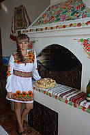 Заготовка жіночої сукні для вишивки нитками/бісером БС-6с білий, атлас