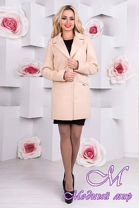 Женское стильное бежевое пальто  (р. S, M, L) арт. Кайра 9288, фото 2
