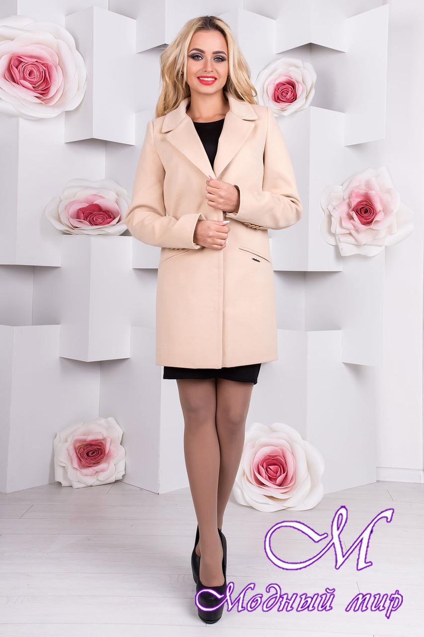 Женское стильное бежевое пальто  (р. S, M, L) арт. Кайра 9288