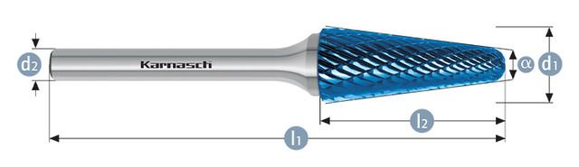 Борфреза коснус закругленный KEL(Тип L) с покрытием BLUE-TEC