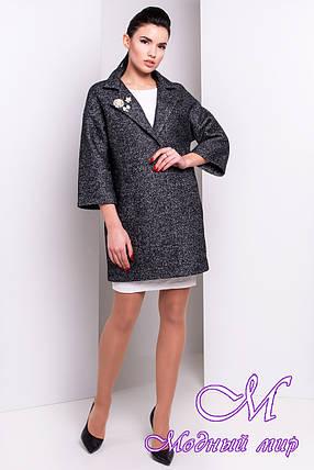 Женское темно-серое пальто (р. S, M, L) арт. Бина мелкое букле 14392, фото 2