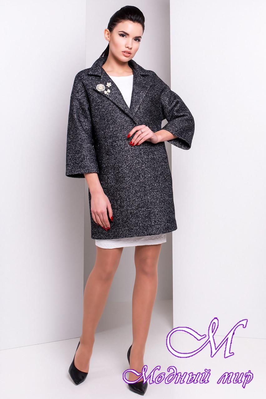 Женское темно-серое пальто (р. S, M, L) арт. Бина мелкое букле 14392