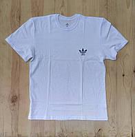 """Белая мужская футболка 100% хлопок """"Adidas"""" с логотипом  ФМ-26"""