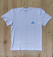 """Белая мужская футболка 100% хлопок """"Adidas"""" с логотипом  ФМ-27"""
