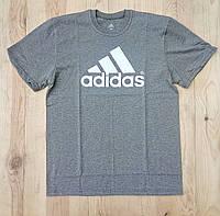 """Серая мужская футболка 100% хлопок """"Adidas"""" с логотипом  ФМ-28"""