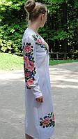 Заготівля жіночої сукні для вишивки нитками/бісером БС-10с білий, атлас