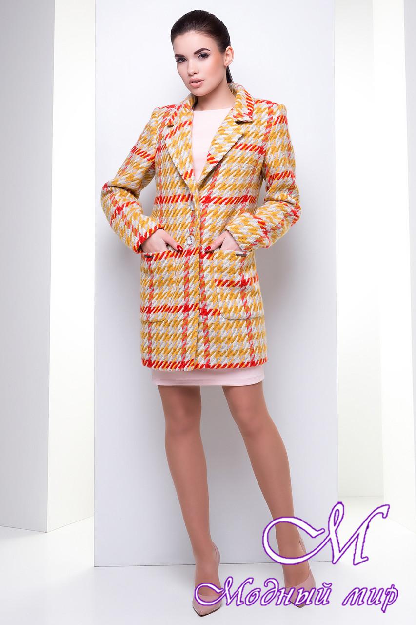 Женское весеннее пальто с узором (р. S, M, L) арт. Вейси шерсть рогожка 14382