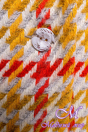 Женское весеннее пальто с узором (р. S, M, L) арт. Вейси шерсть рогожка 14382, фото 2
