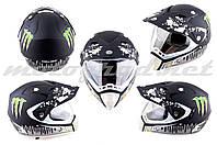 Шлем кроссовый HELMO с визором и очками матовый MONSTER ENERGY