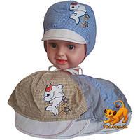 Летняя шапочка  арт.193 (х/б, аппликация) , для  мальчика (р-р 48)
