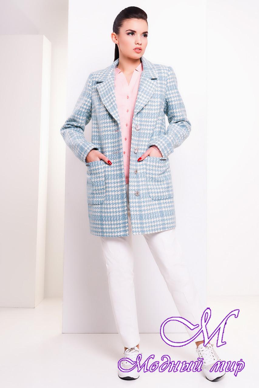 Женское демисезонное пальто с узором (р. S, M, L) арт. Вейси шерсть рогожка 14380