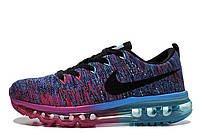 Женские кроссовки Nike Air Max Flyknit Court Purple Cool Blue Pink Black