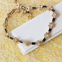 005-0741 - Позолоченный браслет с чёрными и прозрачными фианитами, 18-20.5 см