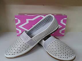 Летние женские туфли с перфорацией из нат. кожи  ALLSHOES 5709 белые, фото 2