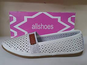 Летние женские туфли с перфорацией из нат. кожи  ALLSHOES 5709 белые, фото 3