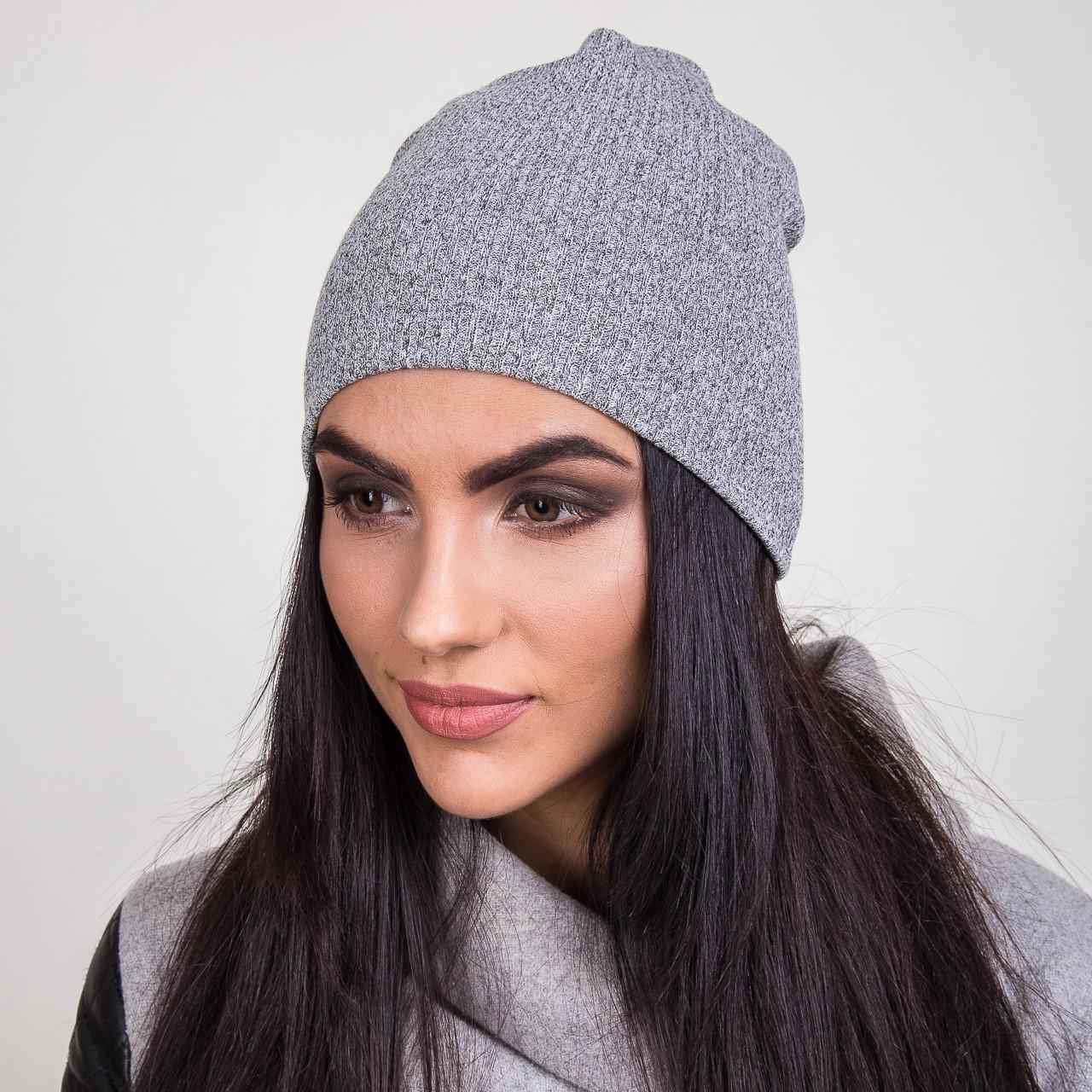 Женская вязанная шапка на весну 2017 - Артикул 2065 (серая)