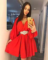 Платье вечернее короткое, ткань Софт, украшение, цвет красный и голубой ,супер качество ля №вернисаж