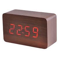 Часы сетевые 863-1 красные, температура, активация по звуку
