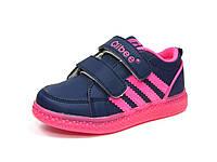 Детские кроссовки с мигалками Clibee: F-620 Синий+Малиновый.