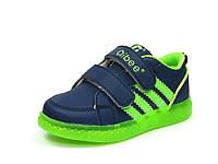 Детские кроссовки с мигалками Clibee: F-620 Синий+Салат.