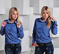 Рубашка женская джинсовая с принтом