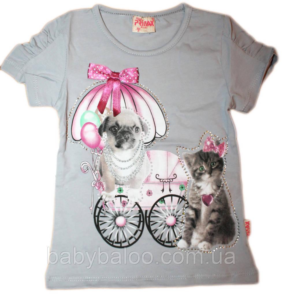 Модная футболка собачка с кошкой (от 92 до 110 см)