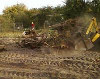 Корчевание пней, расчистка участка, спил деревьев, планирование грунта.