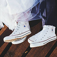Converse all star white high chuck taylor кеды конверс белые высокие р. 35-46