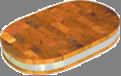 Доска торцевая полуовальная 450х300х40мм с металл ободом дерево Украина ДРТП06