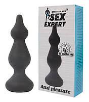 Анальная пробка «Sex Expert» волнистая, 14х3 см.