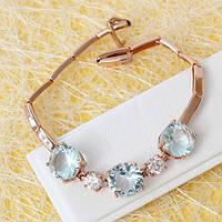 R10-0755 - Браслет со светло-голубыми и прозрачными фианитами розовая позолота, 18-19.5 см