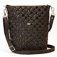 Женская джинсовая сумочка с черными кожаными кружочками