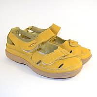 Кожаные летние туфли на липучке