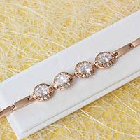 R10-0758 - Браслет с прозрачными фианитами розовая позолота, 18-19.5 см