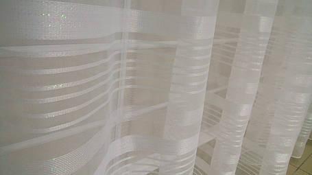 Тюль Полоска Белый Люрекс, микросетка с вышивкой, фото 2