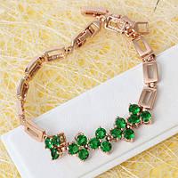 005-0762 - Браслет с изумрудно-зелёными фианитами розовая позолота, 17.5-20 см