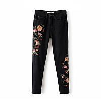 Джинсы женские W02 Zara с вышивкой реплика